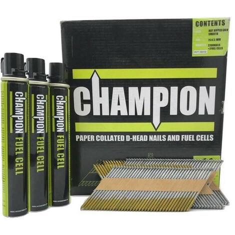 Champion 1st Fix 2.8 x 63mm Electro Galvanised Annular Ring Nails 3300 + 3 Fuel Cells