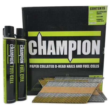 Champion 1st Fix 3.1 x 75mm Electro Galvanised Annular Ring Nails 2200 + 2 Fuel Cells