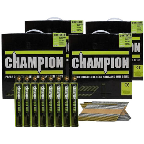 Champion 1st Fix 3.1 x 75mm Electro Galvanised Annular Ring Nails 8800 + 8 Fuel Cells