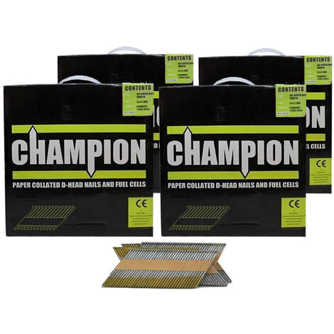 Champion 1st fix 3.1 x 75mm Electro Galvanised Annular Ring Nails 8800 (No Fuel Cells) 4 Boxes