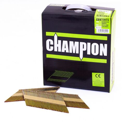 Champion 1st fix 3.1 x 90mm Electro Galvanised Part Annular Ring Nails 2200 (No Fuel Cells)