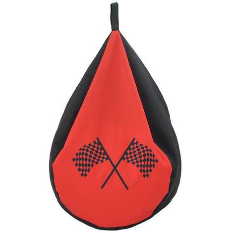 CHAMPION CARS - <p>Pouf poire style drapeaux circuit champion rouge 72x42</p> - Rouge