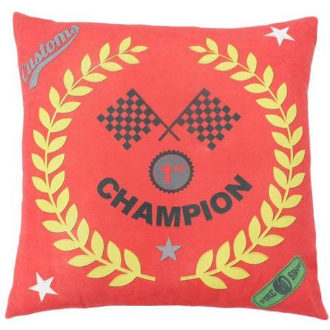 CHAMPION - Coussin de sol imprimé champion rouge 70x70 - Jaune