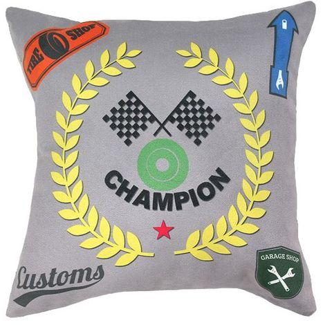 CHAMPION - Coussin en suédine imprimé thème course de voiture gris 30x30 - Gris
