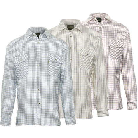 Champion Mens Tattersall Style Long Sleeve Shirt (Pack of 3)
