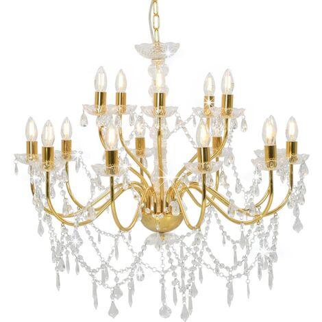 Chandelier 2-layer Golden 15 x E14 Bulbs