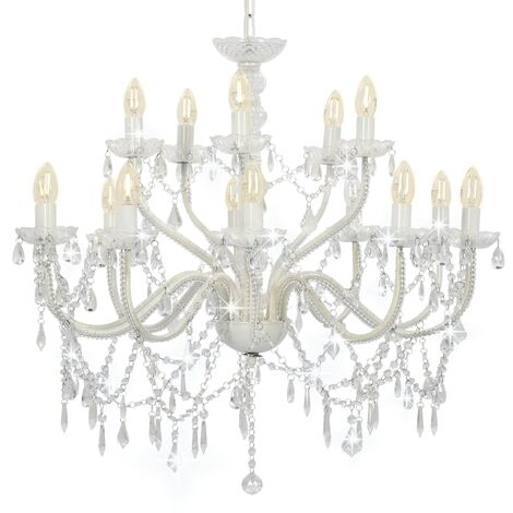Chandelier 2-layer White 15 x E14 Bulbs