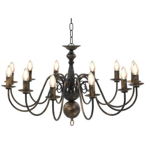 Chandelier Antique Black 12 x E14 Bulbs