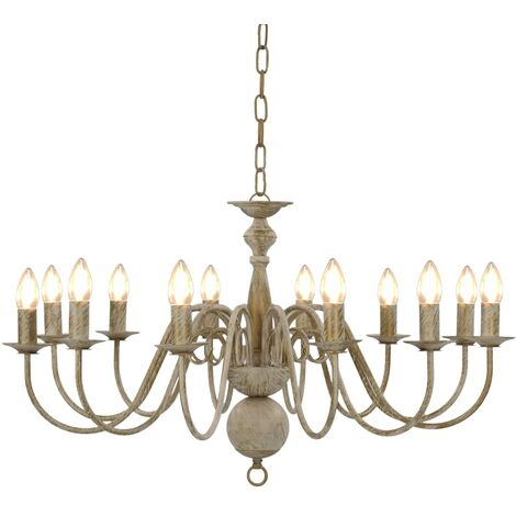 Chandelier Antique White 12 x E14 Bulbs