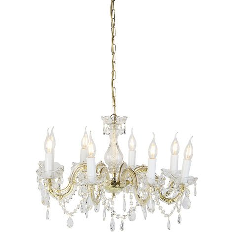 Chandelier chrome and brass S-arm 5 lights - Marie Theresa