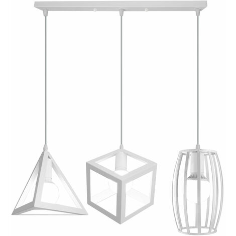 Chandelier Creative Geometric Shape Cube Triangle Round Adjustable Lamp 3 Lights Vintage Hanging Light Industrial Pendant Lamp Fixture for Indoor Decoration White