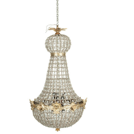 Chandelier in cast of brass and crystal gems
