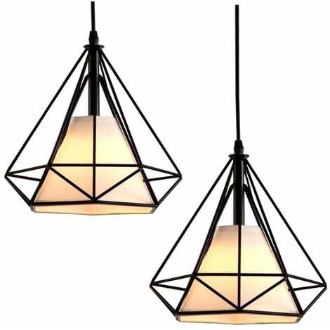 Chandelier , Industrial Pendant Light 25cm Black, Vintage Diamond Shape Hanging Light Iron Cage Pendant Lamp E27 for Kitchen Dining Room Bar Cafeteria Restaurant(2pcs)