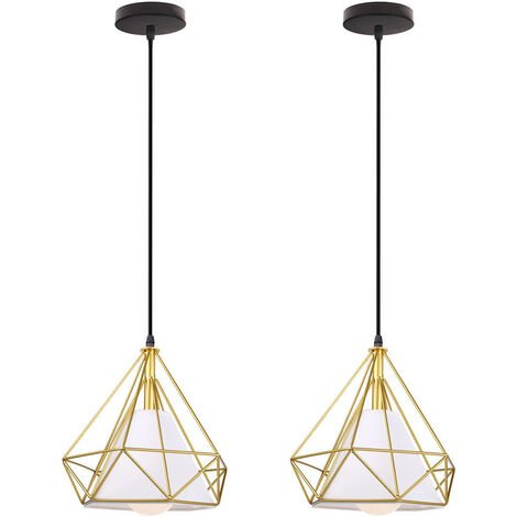 Chandelier , Industrial Pendant Light 25cm Gold, Vintage Diamond Shape Hanging Light Iron Cage Pendant Lamp E27 for Kitchen Dining Room Bar Cafeteria Restaurant(2pcs)