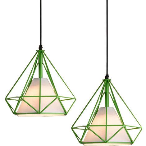 Chandelier , Industrial Pendant Light 25cm Green, Vintage Diamond Shape Hanging Light Iron Cage Pendant Lamp E27 for Kitchen Dining Room Bar Cafeteria Restaurant(2pcs)