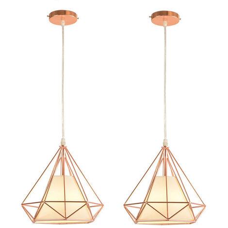 Chandelier , Industrial Pendant Light 25cm Rose Gold, Vintage Diamond Shape Hanging Light Iron Cage Pendant Lamp E27 for Kitchen Dining Room Bar Cafeteria Restaurant(2pcs)