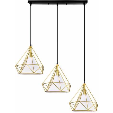 Chandelier- Retro Vintage Hanging Light 3 Lamp Holders Lamp Pendant Light Modern Metal Iron Lamp Shade E27 25cm Gold