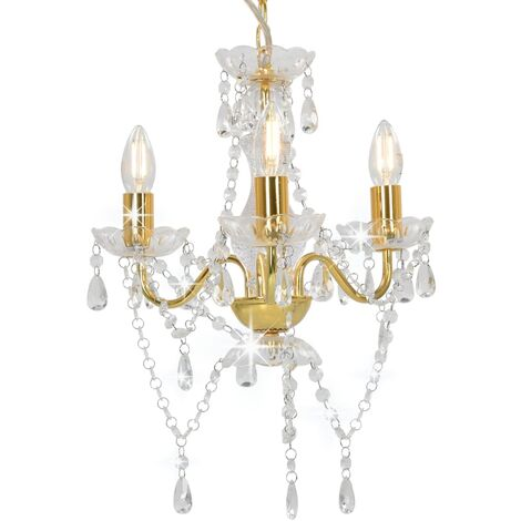 Chandelier with Beads Golden Round 3 x E14