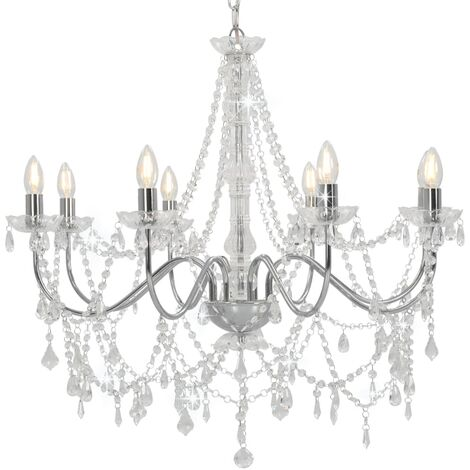 Chandelier with Beads Silver 8 x E14 Bulbs