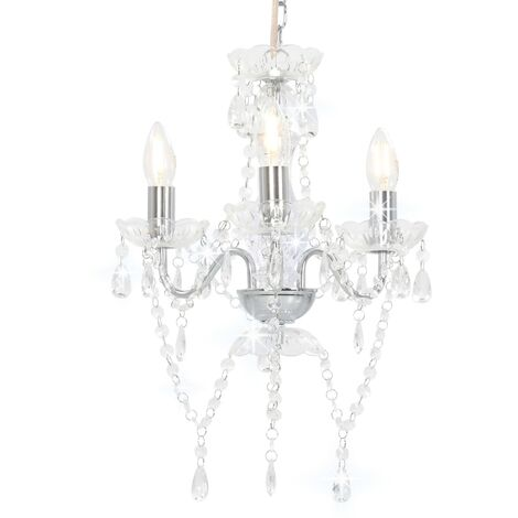Chandelier with Beads Silver Round 3 x E14
