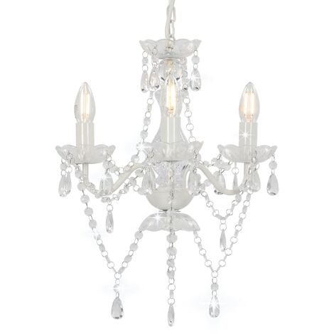 Chandelier with Beads White Round 3 x E14