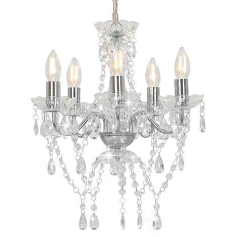 Chandelier with Crystal Beads Silver Round 5 x E14