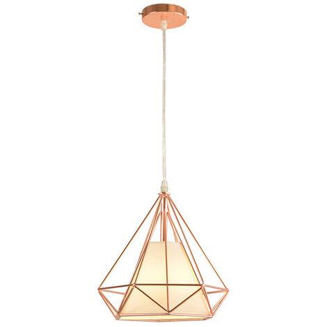Chandelier,Modern Pendant Light Contemporary Hanging Light Iron Metal Pendant Lamp Diamond Shape Ceiling Light E27 25cm Rose Gold
