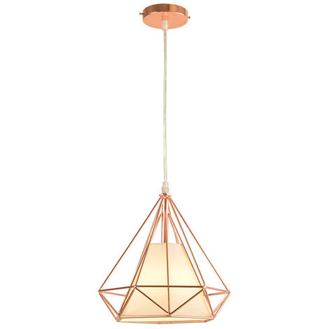 Chandelier,Modern Pendant Light Contemporary Hanging Light Metal Iron Pendant Lamp Diamond Shape Ceiling Light E27 25cm Rose Gold
