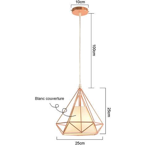 Chandelier,Modern Pendant Light Rose Gold Contemporary Hanging Light Iron Metal Pendant Lamp 25cm Diamond Shape Ceiling Light E27