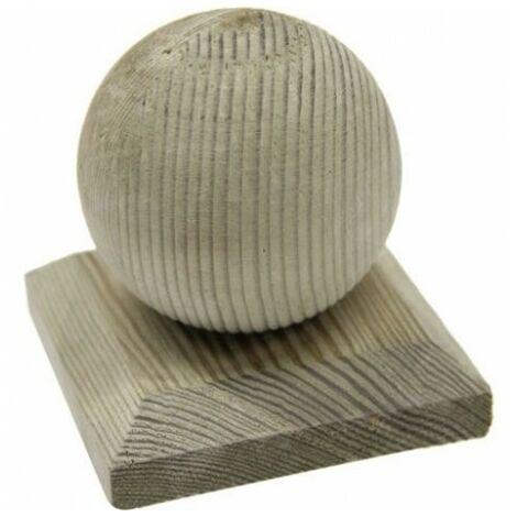 Chapeau Boule en bois - Dessus de poteau 9x9 cm