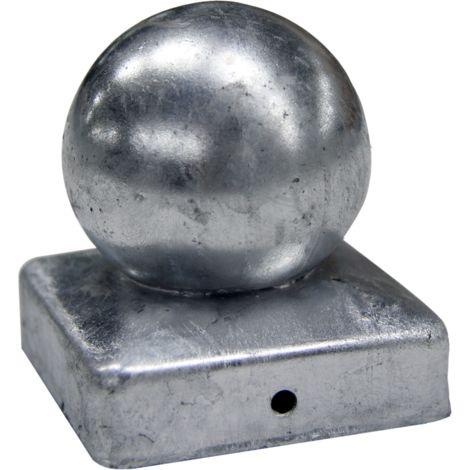 """main image of """"Chapeau Boule galvanisé - Dessus de poteau 9X9 cm Lot de 2"""""""