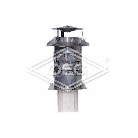 Chapeau de cheminée Windkat diamètre 130, avec manchon d'enfichage carré, 100 mm