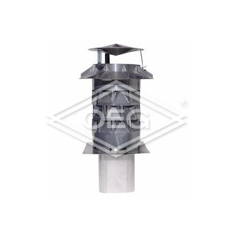 Chapeau de cheminée Windkat diamètre 130, avec manchon d'enfichage carré, 128 mm