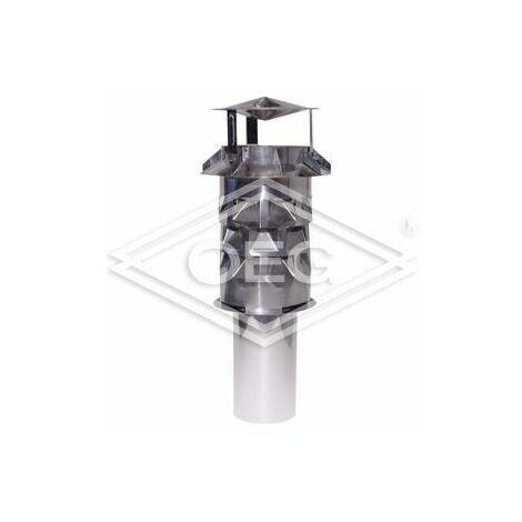 Chapeau de cheminée Windkat diamètre 130, avec manchon d'enfichage rond, 118 mm