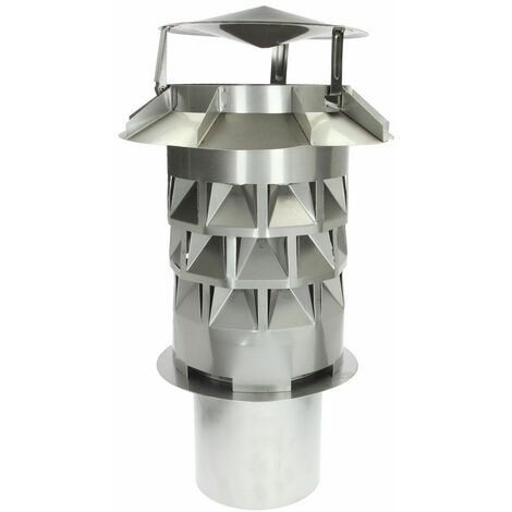 Chapeau de cheminée Windkat diamètre 200, avec manchon d'enfichage carré, 196 mm
