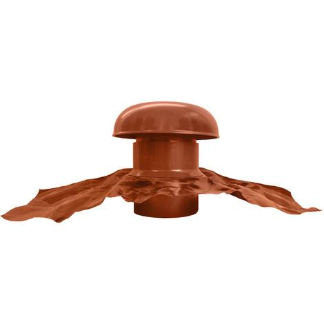 Chapeau de ventilation avec bande plomb Ø125mm - Rouge tuile