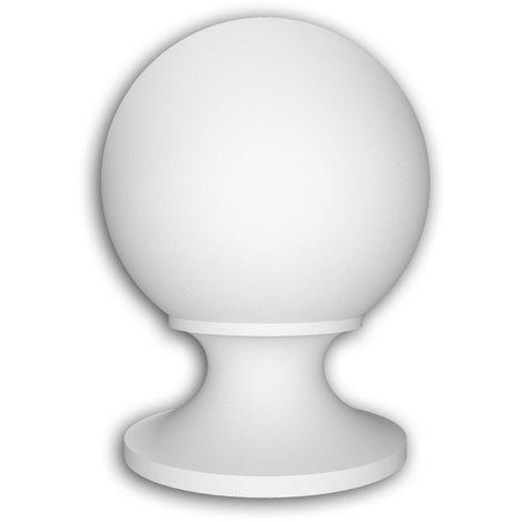 Chapeau poteau de balustrade Profhome 477201 Moulure exterieure Balustrade Élément de façade style Néo-Classicisme blanc