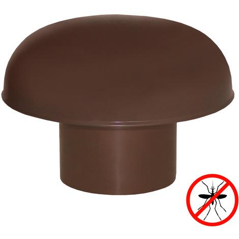 Chapeaux de ventilation PVC avec moustiquaire - Marron - Ø80 OU100