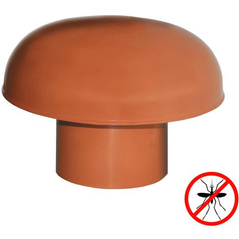 Chapeaux de ventilation PVC avec moustiquaire - Rouge tuile - Ø80 à 125