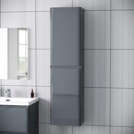 Chapelle Modern Tall Wall Hung Storage Cabinet Gloss Bathroom Furniture Unit Grey
