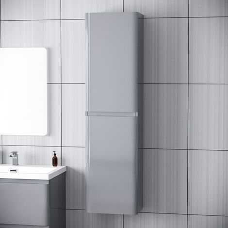Chapelle Modern Tall Wall Hung Storage Cabinet Gloss Bathroom Furniture Unit Light Grey