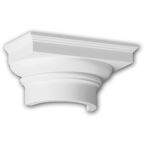 Chapiteau de demi-colonne Profhome 415101 Moulure de façade Colonne Élément de façade style toscan blanc