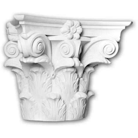 Chapiteau de demi-colonne Profhome 415301 Moulure de façade Colonne Élément de façade style corinthien blanc