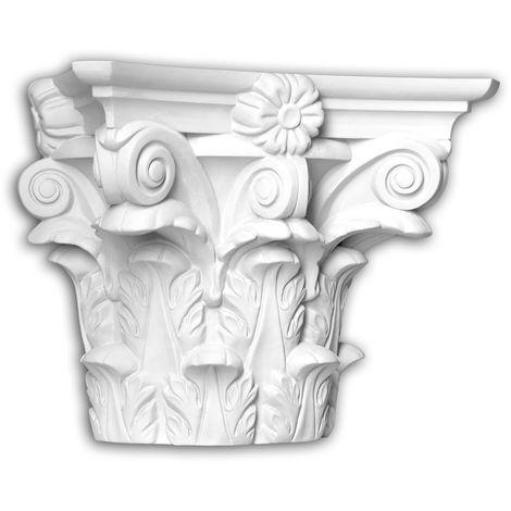 Chapiteau de demi-colonne Profhome 445301 Moulure de façade Colonne Élément de façade style corinthien blanc