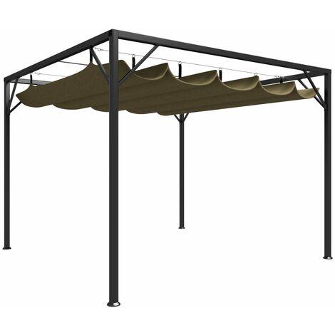 Chapiteau de jardin avec auvent rétractable 3x3m Taupe 180 g/m²