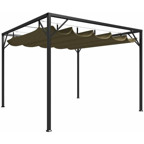 Chapiteau de jardin avec auvent rétractable 3x3m Taupe 180 g/m2