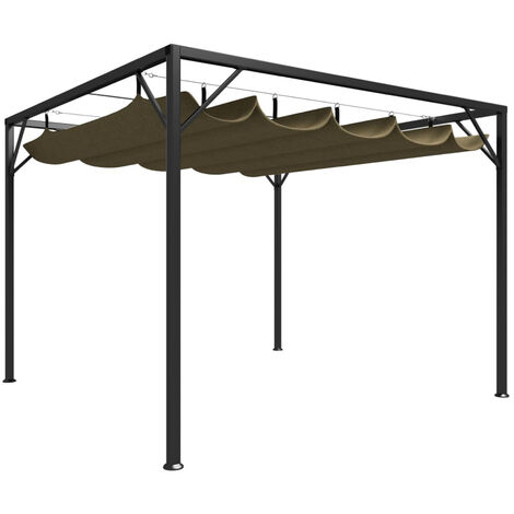 Chapiteau de jardin avec auvent retractable 3x3m Taupe 180 g/m2