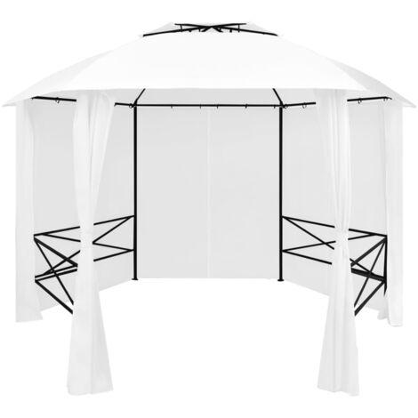 Chapiteau de jardin avec rideaux 360x312x265 cm Blanc 180 g/m2