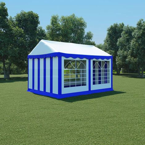 Chapiteau de jardin PVC 3x4 m Bleu et blanc