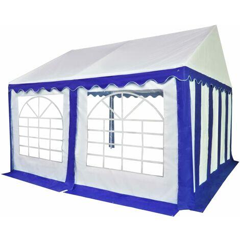 Chapiteau de jardin PVC 4 x 4 m Bleu et blanc